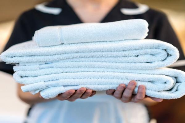 Maid assistant service folding towels